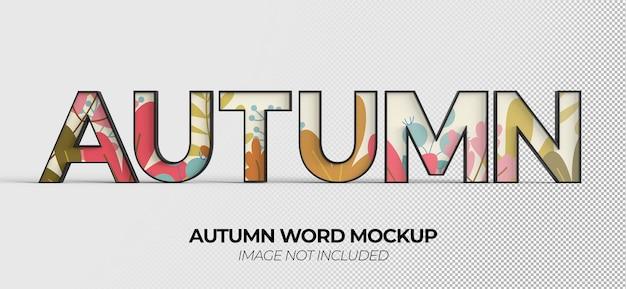 Maquette de signe de mot d'automne pour la publicité ou l'image de marque