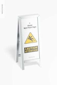 Maquette de signe de sol humide en métal, vue de face