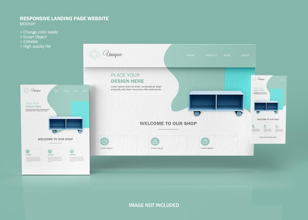 Maquette De Site Web De Page De Destination Réactive PSD Premium