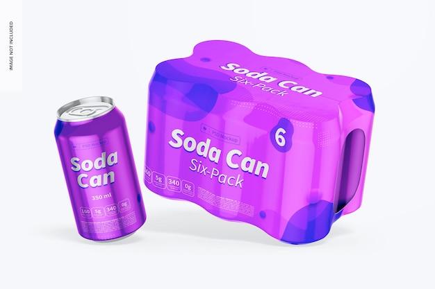 Maquette de six boîtes de soda, tombant
