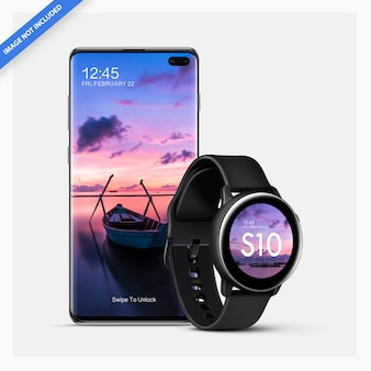 Maquette smartphone android avec smartwatch