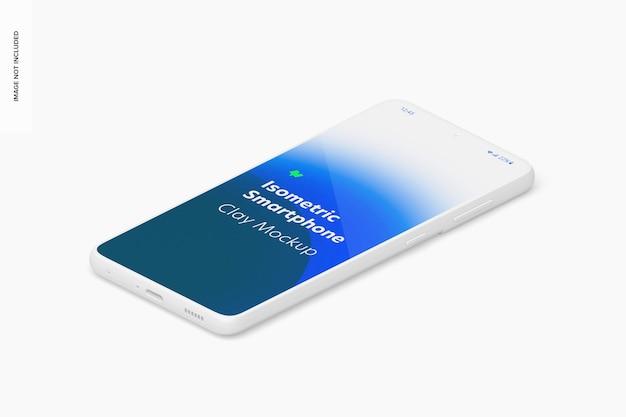 Maquette de smartphone en argile isométrique, vue de droite