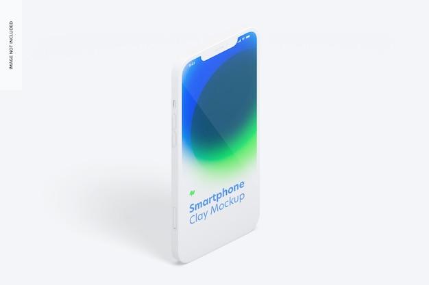 Maquette de smartphone en argile isométrique, vue de gauche en portrait