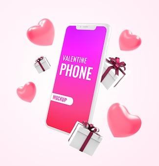 Maquette de smartphone avec boîte-cadeau et coeur