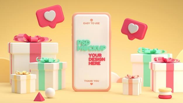 Maquette de smartphone avec des cadeaux dans un style de dessin animé 3d drôle