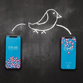 Maquette de smartphone avec concept internet