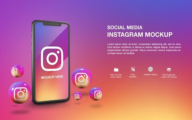 Maquette de smartphone avec conception de rendu de balle instagram