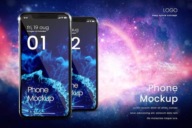 Maquette de smartphone de deux téléphones sur fond d'espace lointain