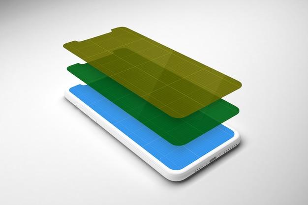 Maquette de smartphone avec différents écrans
