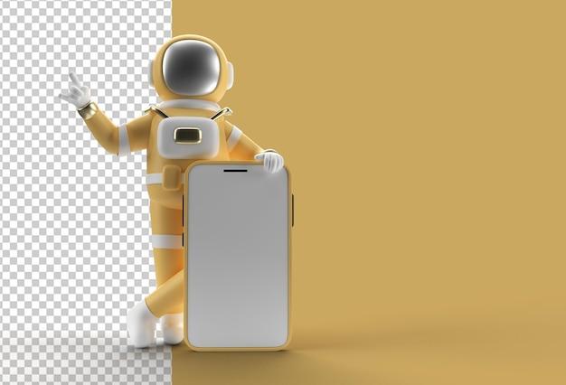 Maquette de smartphone de doigt pointé de main d'astronaute