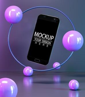 Maquette de smartphone à écran vide avec des sphères