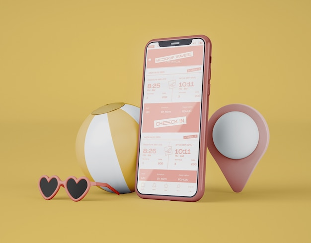 Maquette de smartphone à écran. voyage d'été et concept de voyage.