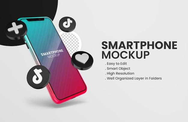 Avec la maquette de smartphone icône tiktok de rendu 3d