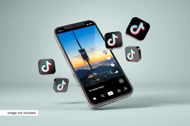 Maquette de smartphone avec icônes tiktok