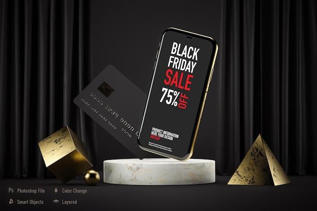 Maquette de smartphone isolée pour le black friday