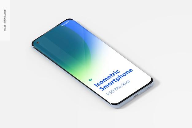 Maquette de smartphone isométrique, vue de droite