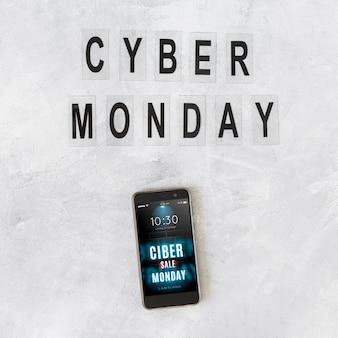 Maquette smartphone avec lettres cyber lundi