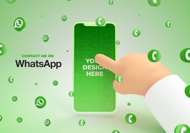 Maquette de smartphone avec main de dessin animé avec rendu 3d des médias sociaux whatsapp