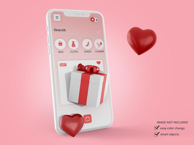 Maquette de smartphone avec maquette de boîte et de coeurs