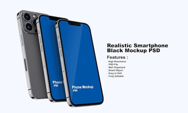 Maquette de smartphone noir premium réaliste