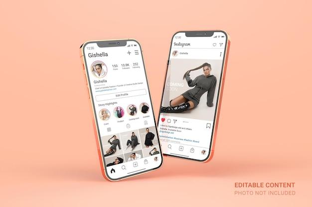 Maquette de smartphone en or rose avec publication instagram modifiable sur les médias sociaux