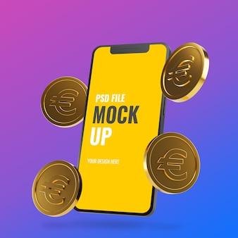 Maquette de smartphone avec des pièces en euros d'or flottantes
