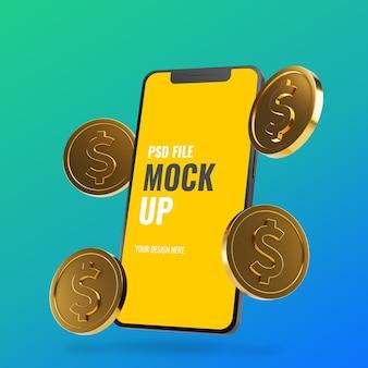 Maquette smartphone avec des pièces flottantes en dollars d'or