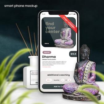 Maquette de smartphone pour le concept spirituel oriental