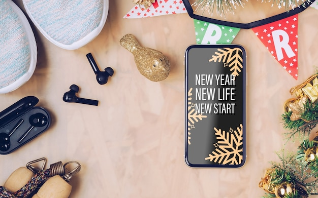 Maquette de smartphone pour noël et nouvel an