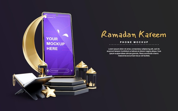 Maquette de smartphone pour la religion islamique ramadan kareem