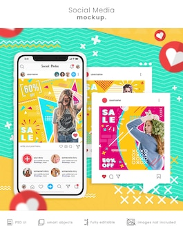 Maquette de smartphone avec publications sur les réseaux sociaux