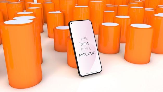 Maquette de smartphone réaliste avec des cylindres orange