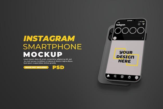 Maquette de smartphone réaliste avec instagram isolé