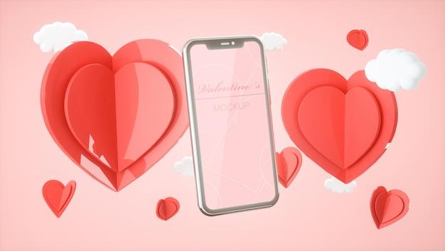 Maquette de smartphone avec rendu 3d de concept de valentine
