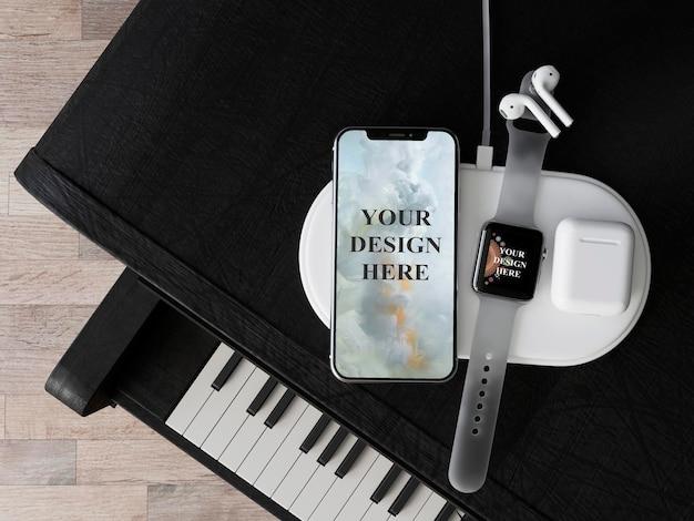 Maquette de smartphone et de smartwatch premium psd