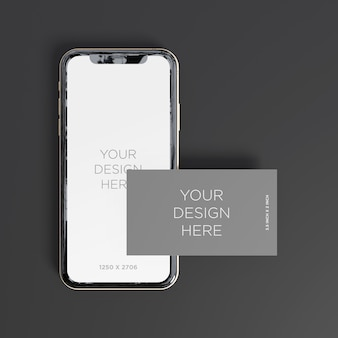 Maquette de smartphone avec vue de dessus de carte de visite