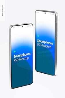 Maquette de smartphone, vue latérale droite et gauche