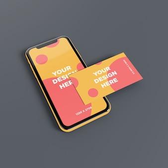 Maquette de smartphone avec vue en perspective de carte de visite