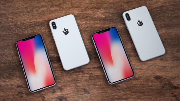 Maquette de smartphones de l'arrière et de l'avant