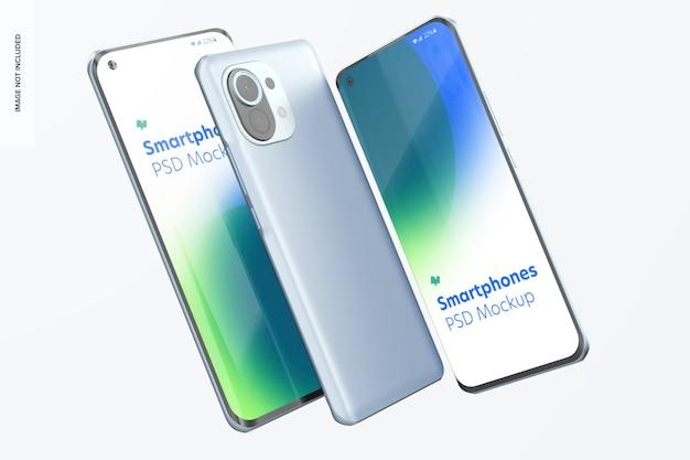 Maquette De Smartphones Sur Blanc PSD Premium
