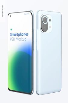 Maquette de smartphones sur blanc