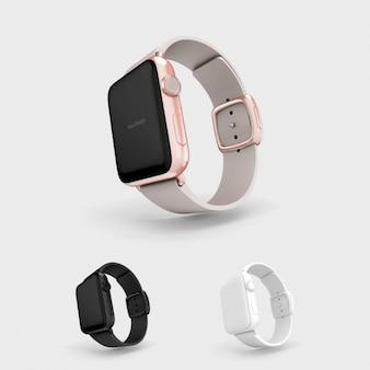 Maquette smartwatch avec bracelet gris