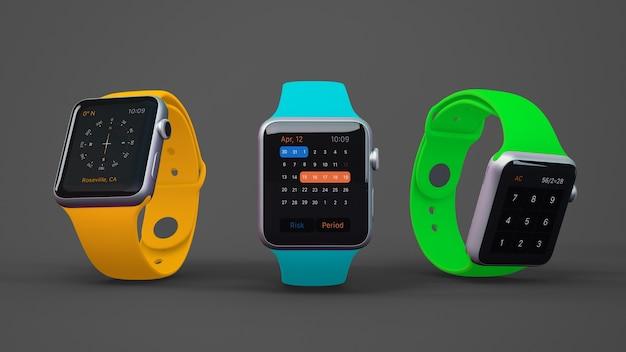 Maquette smartwatch de trois
