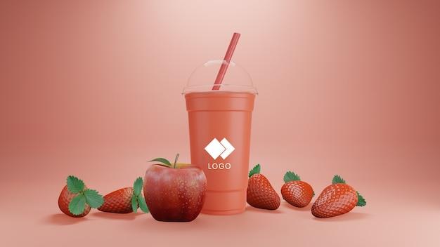 Maquette de smoothie aux fraises et aux pommes isolée
