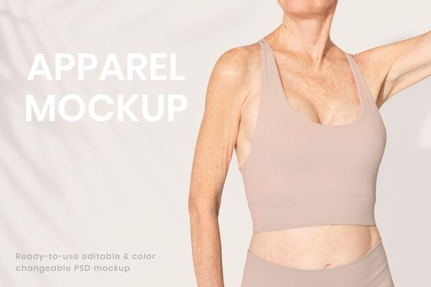 Maquette de sous-vêtements féminins modifiable psd pour une annonce de vêtements inclusifs matures