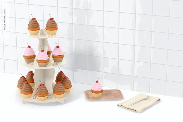 Maquette de stand de cupcakes en carton à 3 niveaux, perspective