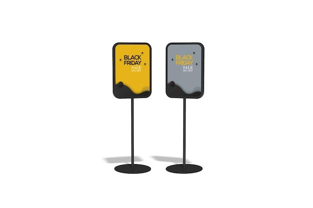 Maquette de stand double affiche isolée