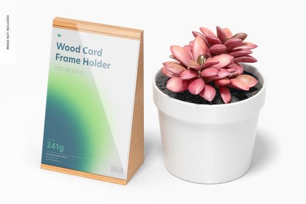 Maquette de support de cadre de carte en bois