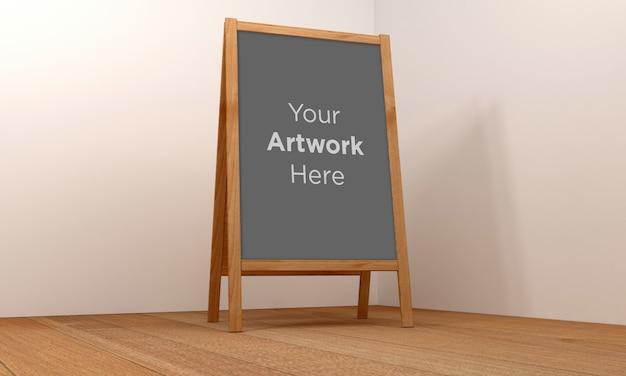 Maquette de support de panneau d'affichage en bois rendu 3d