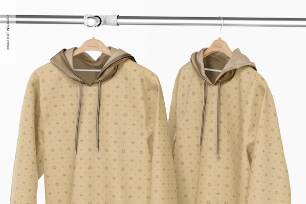 Maquette de sweats à capuche suspendus
